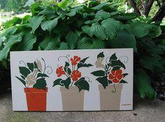 Vintage Marushka Flower Pots on Canvas by CheekyVintageCloset, $42.00