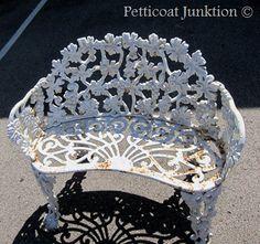 Vintage floral iron bench,Nashville Flea Market July 2012, Petticoat Junktion