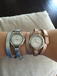 Helping a friend and customer decide on accessories for her new Origami Owl Signature Twist Watch. On the left: Silver Genuine Leather Wrap with our Lathe Silver Twist Face. On the right: Rose Gold Genuine Leather Triple Wrap Bracelet with our Large Prism Twist Face. Which do you prefer? Or do you want it all? Welcome to my world. There are hundreds of ways to wear them. Customizable watches starting at just $78! https://katemckenzie.origamiowl.com/shop/categories/watches