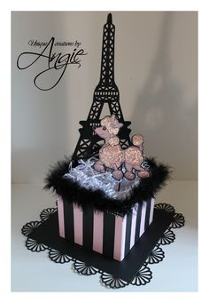 Paris+Themed+Sweet+16+Centerpieces | poodle in paris centerpieces