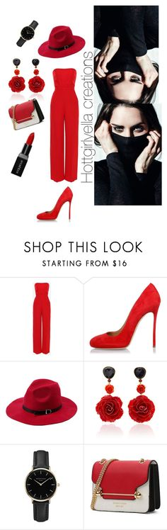 """""""Little Red Corvette"""" by hottgirlyella ❤ liked on Polyvore featuring Valentino, Dsquared2, Bahina, ROSEFIELD and Smashbox"""