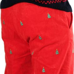 Beachcomber Corduroy Pants in Bright Red with Embroidered Christmas Trees by Castaway Clothing