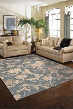 Thames Rug - Slate. Very nice living room.