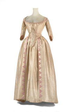 Wedding dress and petticoat, 1791, England; silk, linen, cotton, wool, baleen.