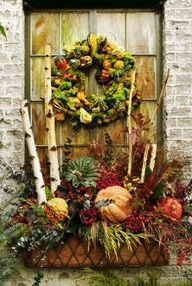 beautiful fall window box - Tie burlap around a cheap plastic planter box, if you don't have a pretty one like this.