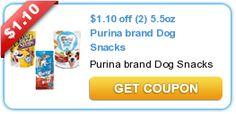 $1.10 off (2) 5.5oz Purina brand Dog Snacks