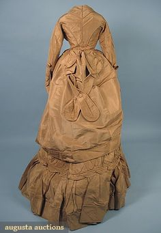 CARAMEL SILK RECEPTION GOWN, EARLY 1870s 3-piece silk faille c/o jacket, skirt & over-skirt, w/ grey silk buttons, including separate, original brass & wire bustle