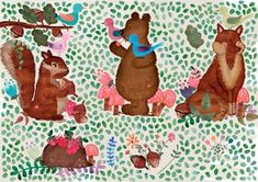 Cute Watercolor Forest cliparts by Cute Little Workshop on Rugby Girls, Mermaid School, Coffee To Go, Christmas Jumpers, Girls Characters, Forest Animals, Graphic Illustration, Illustrations, Clipart