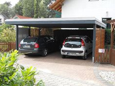 il y en a un tt bois qui n'est pas si mal, mais impossible à épingler Carport Sheds, Carport Garage, Carport Modern, Car Shed, Garages, Car Shelter, Car Porch Design, Carport Designs, Garage Remodel
