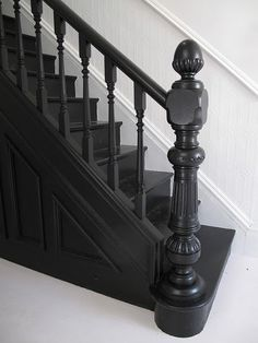 Farrow and Ball Off Black I banister