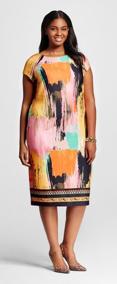 Plus Size Cap Sleeve Printed Dress