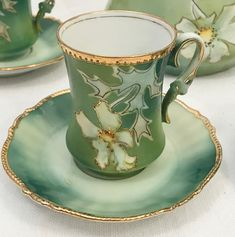 Antique Victorian Hand Painted Gold R S Prussia Chocolate Cup & Saucer Tea Cup Set, My Cup Of Tea, Cup And Saucer Set, Tea Cup Saucer, Vintage Cups, Vintage Tea, Painted Cups, Hand Painted, Green Tea Cups