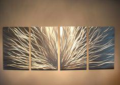 Metal Wall Art Decor Abstract Contemporary Modern Sculpture Hanging Zen Textured- Radiance. $110.00, via Etsy.