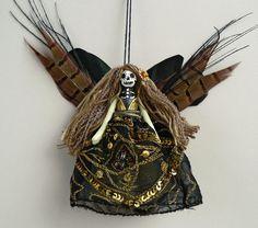 Christmas Ornament, tree ornament, Day of the Dead Fairy, handmade peg doll decoration, OOAK