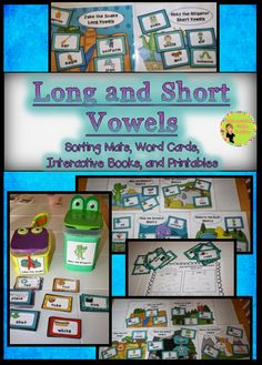 Long and Short Vowel Sorts, Hands-on sorting. Memorable characters for each long and short vowel, printables, sorting mats, long and short vowel cards, and interactive books. $
