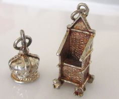 Silver English Royal Crown and Coronation Chair Charms by TrueVintageCharms on Etsy
