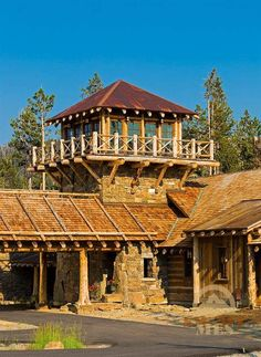 Real Estate of Big Sky Prefab Cabins, Log Cabins, Rustic Home Design, Rustic Style, Chalet Design, House Design, Yurt Home, Lookout Tower, Earth House