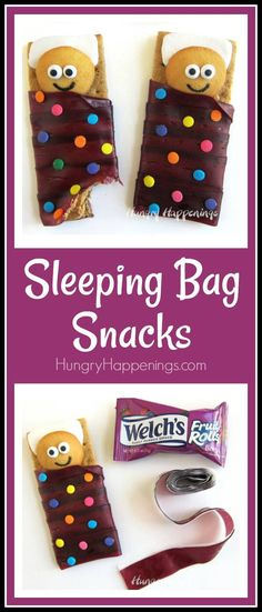 Sleeping Bag Snacks - Cookie kids sleeping on marshmallow pillows and graham crackers topped with peanut butter wrapped in Welch's Fruit Rolls sleeping bags. snacks, Sleeping Bag Snacks made with Welch's® Fruit Rolls Cute Snacks, Fun Snacks For Kids, Fruit Snacks, Cute Food, Kids Meals, Snacks Ideas, Kid Snacks, Summer Snacks, Summer Deserts