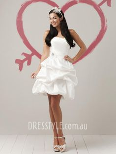 Simple Strapless Pleated Taffeta Mini Wedding Dress on sale, a perfect Mini Wedding Dresses with high quality and nice design. Buy it now or discover your Mini Wedding Dresses Funky Wedding Dresses, 2015 Wedding Dresses, Wedding Dress Shopping, Wedding Dress Styles, Bridal Dresses, Dress Wedding, Dresses 2013, Wedding Bride, Short Dresses