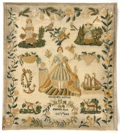 Elizabeth Pyne - England - 1845 - Ivory wool plain weave with multicolored silk thread in stem, satin, split and cross stitches.  Philadelphia Museum of Art - Collections Object : Sampler