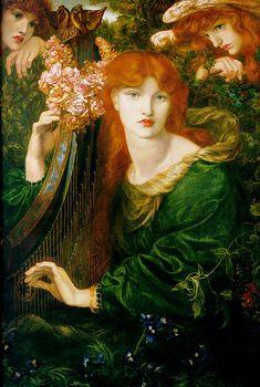 """model Alexa Wilding : """"La Ghirlandata"""" , 1873 , by Dante Gabriel Rossetti , oil on canvas  , 124 × 85 cm , Guildhall Art Gallery , London .  Alexa Wilding (1847-1884) was first seen by Rossetti in 1865."""