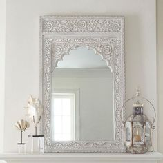 Home decor, mirror и arch mirror. Wooden Wall Panels, Wooden Walls, Indian Home Decor, Moroccan Decor, Indian Furniture, Rustic Furniture, White Vintage Mirror, White Mirror, Wooden Cabinets