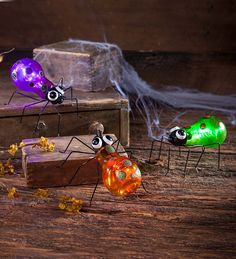 Colorful Lighted Spiders, Set of 3 | Halloween Decorations | Add this set of three Colorful Lighted Spiders to your Halloween décor for some creepy, crawly fun! This set of arachnids, one in orange, one in green and one in purple, have glass light bulb shaped bodies that glow - perfect for a nighttime display.