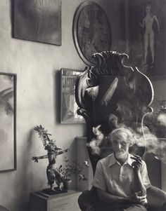 """German artist Max Ernst (1891-1976) photographed by Arnold Newman, 1942. Max Ernst: """"Painting is not for me either decorative amusement, or the plastic invention of felt reality; it must be every time: invention, discovery, revelation."""""""