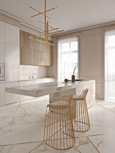 Cozinha elegante incrível com toques de ouro - KÜCHE - Modern Kitchen Design, Interior Design Kitchen, Modern Interior Design, Interior Decorating, Modern Bar, Decorating Ideas, Luxury Interior, Decorating Websites, Modern Interiors