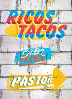 During the last 4 months we worked together with La Fábrica del Taco & Estudio 1431 in the new look for the restaurant. Situated in Palermo Mexican Graphic Design, Mexican Designs, Mexican Restaurant Decor, Logo Restaurant, Typography Letters, Typography Poster, Taco Images, Taco Shop, Signwriting