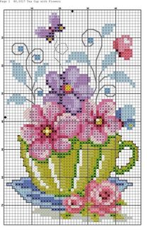 """Punto cruz """"flowers in tea cup cross stitch pattern"""", """"Teacup and Butterflies cross stitch"""", """"nice cup of."""", """"This post w Cross Stitch Cards, Counted Cross Stitch Patterns, Cross Stitch Designs, Cross Stitching, Cross Stitch Embroidery, Embroidery Patterns, Butterfly Cross Stitch, Cross Stitch Flowers, Cross Stitch Kitchen"""