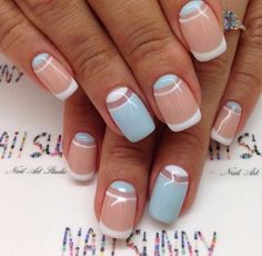 Blue and white french nails, Blue and white nails, Classic french manicure, Classic nails ideas, Insanely beautiful nails, Moon on the nails, ring finger nails, Square nails
