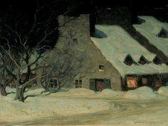 Hand painted reproduction of Street Scene Quebec at Night painting. This masterpiece was painted originally by Clarence Gagnon. Commission your beautiful hand painted reproduction of Street Scene Quebec at Night. Canadian Painters, Canadian Artists, Nocturne, Quebec, Clarence Gagnon, Art Inuit, Night Shadow, Of Montreal, Snow Scenes