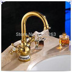 Купить товарБесплатная доставка высокое качество золото латунь поворотным изливом куба краны для кухни / ванной кран одной ручкой Mix Tap 2022 К сингл в категории Кухонные раковинына AliExpress.            &