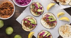 Vegan Eggplant Tacos // the eggplant is the taco shell! How cool is that?!