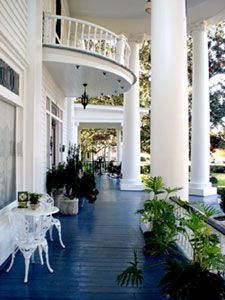 Southern Porches with columns, blue floor, and balcony Southern Porches, Southern Homes, Southern Charm, Country Porches, Southern Mansions, Outdoor Rooms, Outdoor Living, Porch Flooring, Home Porch