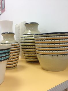 Rare Hornsea Pottery Stoneware slip vases and planters at the annual Hornsea Collectors Fair