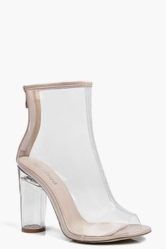 Lena Chaussures Bottes À Talons Transparents Peep Toe