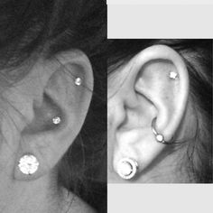 Conch piercing: diamond stud vs ring earrings jewelry (with helix and lobe diamond studs). Considering getting a second lobe piercing...