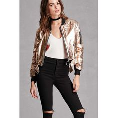 Forever21 Ring Zipper Metallic Bomber ($58) ❤ liked on Polyvore featuring outerwear, jackets, gold, bomber jackets, zip jacket, metallic jacket, bomber style jacket and blouson jacket