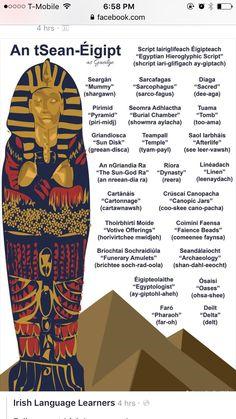 An tSean-Éigipt - Ancient Egypt Gaelic Words, Irish Language, Scottish Gaelic, Brain Gym, Irish Quotes, Irish Art, Art Activities, Ancient Egypt, Old World