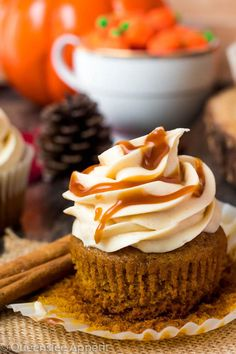 Pumpkin Cupcakes with Salted Caramel Cream Cheese Frosting ~ Recipe Xmas Food, Christmas Desserts, Fun Desserts, Dessert Recipes, Caramel Cupcakes, Pumpkin Spice Cupcakes, No Bake Treats, Frosting Recipes, Cream Cheese Frosting