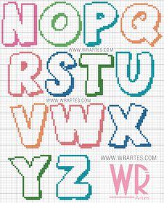 Crochet Alphabet, Crochet Letters, Cross Stitch Alphabet Patterns, Alphabet Charts, Cross Stitch Letters, Cross Stitch Boards, Cross Stitch Baby, Cross Stitch Designs, Stitch Patterns