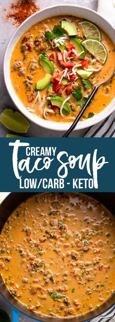 Recipes Breakfast Low Carb Low carb and keto-friendly Creamy taco soup is warm and comforting. It's packed with veggies and topped with fresh avocado and lime juice and is the perfect way to enjoy tacos without the added carbs! Low Carb Tacos, Low Carb Taco Soup, Low Carb Chicken Recipes, Keto Taco, Healthy Low Carb Recipes, Keto Soup, Low Carb Dinner Recipes, Low Carb Keto, Keto Recipes