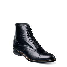 Stacy Adams Men's Madison Medium/Wide Cap Toe Lace Up Boots (Black Leather) - 14.0 2E