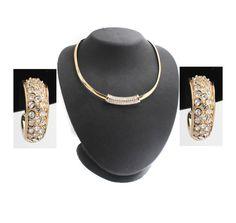 Goldtone Omega Necklace with Crystal Slide & Hoop Earring Set + Black Diamond #jewelryauctionhouse #Omega