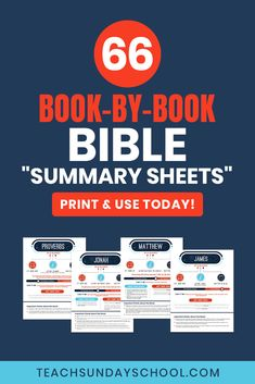 Books of the Bible Summaries: one-page reference Sheets for each and every book. Bible Study Notebook, Bible Study Plans, Bible Study Tips, Scripture Study, Bible Lessons, My Bible, Bible Scriptures, Bible Quotes, Bible Resources