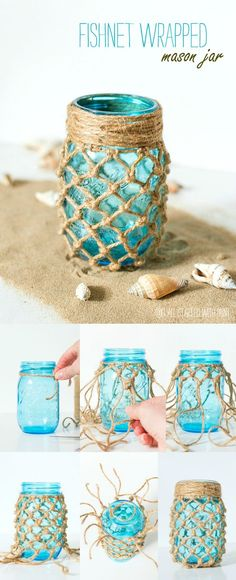 Fishnet Wrapped Mason Jars diy craft crafts home decor easy crafts diy ideas diy crafts crafty diy decor craft decorations how to home crafts tutorials teen crafts mason jar crafts Mason Jar Projects, Mason Jar Crafts, Bottle Crafts, Diy Crafts Jars, Mason Jar Twine, Twine Crafts, Crafts With Glass Jars, Mason Jar Candle Holders, Fabric Crafts