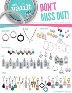 The Into the Vault Collection is available now! This Collection contains an amazing variety of jewelry that will definitely make your story just as unique as you are. Don't miss out! Supplies are limited, and once these Charms, Chains, + Lockets and more vanish, they'll be locked! Contact me, your Origami Owl Independent Designer today for details! shop: bren.origamiowl.com/ #origamiowl #Whilesupplieslast #Vaultcollection #lockets #charms