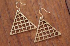 Brass Triangle Grid Earrings